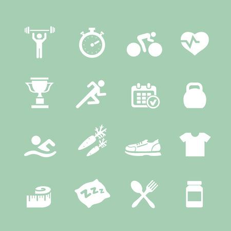 educacion fisica: Establecer iconos Salud y Fitness iconos blancos del vector con un corazón pesas culturista cronómetro pesas con agua zapatos entrenador pulso embotellada
