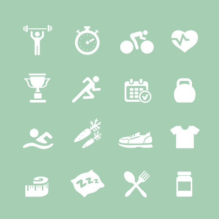 button set: Health and Fitness white icons  vector set icons with a stopwatch bodybuilder weights dumbbells heart with pulse trainer shoes bottled water Illustration
