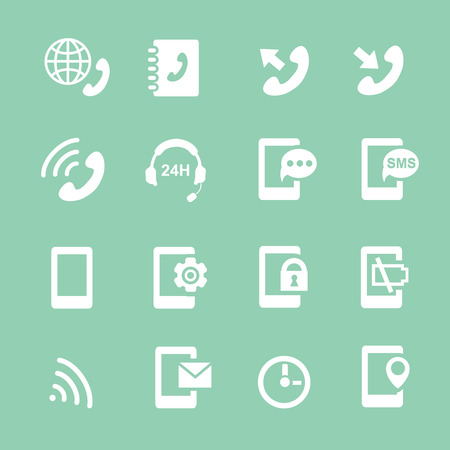 mobile voip: Simple set of phones related vector  white icons for your site or application. Illustration