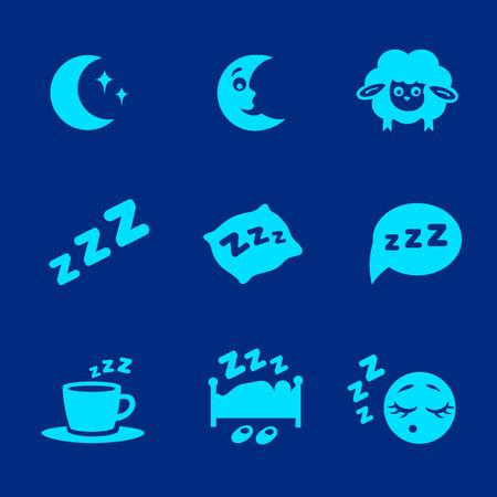 Vector geïsoleerd wit slaapconcept pictogrammen instellen hoofdkussen, bed, maan, schapen en zzz