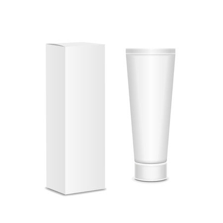 Cool Realistic white tube and packaging. For cosmetics, ointments, cream, tooth paste, glue Vector.