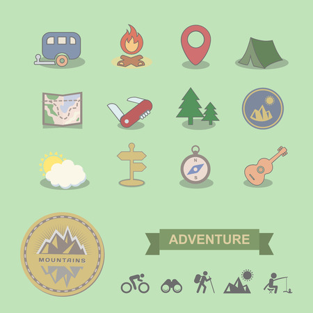 scouts: Set of colored camping equipment symbols and icons