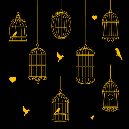 captivity: birds and birdcages  collection Illustration