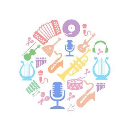 semiquaver: Multicolored music instruments  silhouette in circle shape. Vector