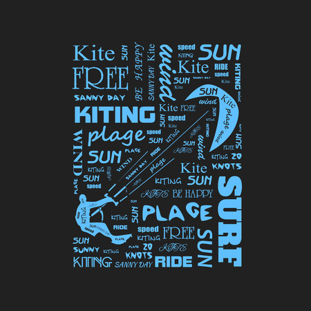beach cruiser: Surfer  t-shirt graphics with kite.  poster