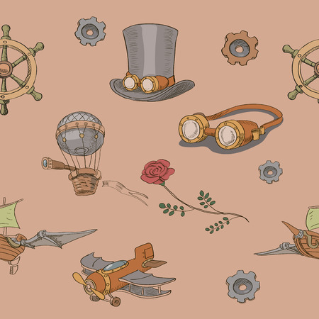 antique factory: Seamless pattern Steampunk with steampunk top hat and brass goggles