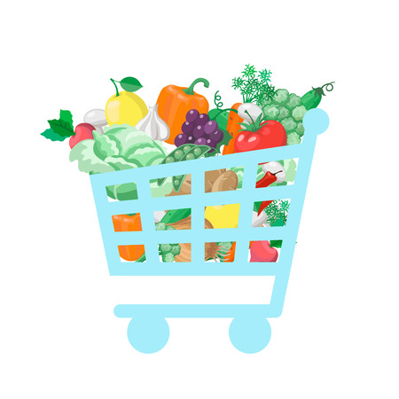 vitamin store: Shopping cart with  fresh and natural food  concept Vegetable and store, organic healthy, buy vitamin.  illustration Stock Photo