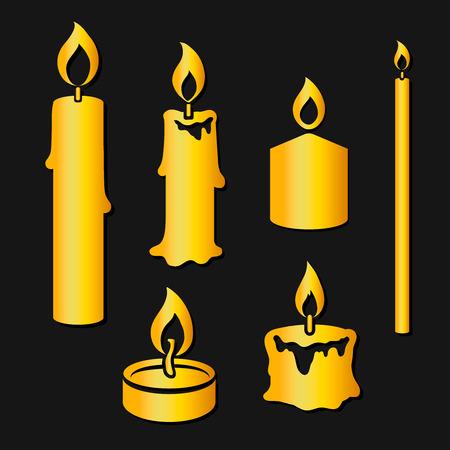 luz de velas: Conjunto de velas ardientes silueta de oro