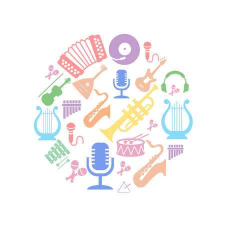 semiquaver: Multicolored music instruments  silhouette in circle shape. Stock Photo