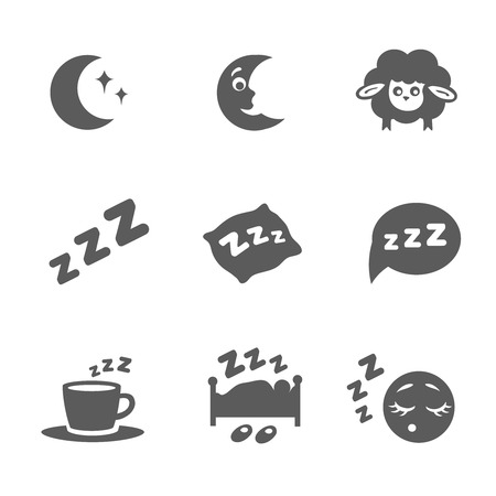 snooze: isolated sleep icons set Stock Photo