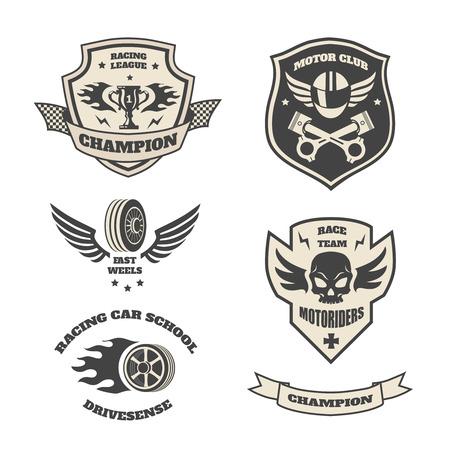 shield wings: Grand prix racing  motorclub  emblems set isolated illustration