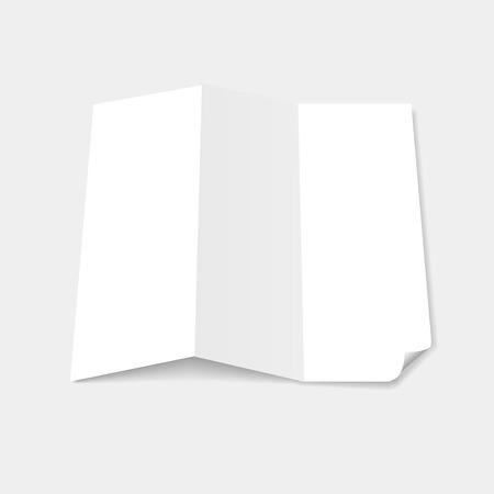 page curl: Blank white tri fold brochure template with page curl