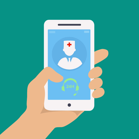 Vecto flat concept web design of hand holding mobile phone with medical assistance and doctor consultation online icon Illustration