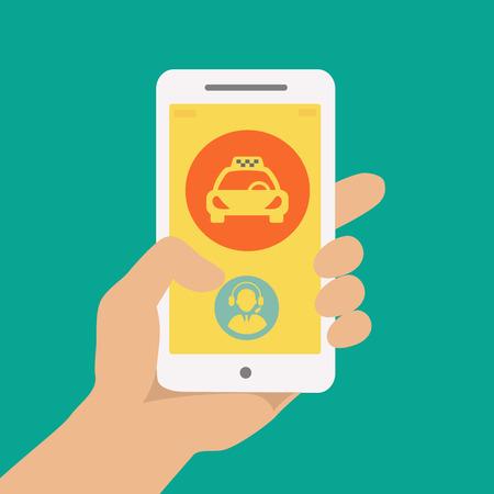 hand houden van de telefoon met de taxi huren toepassing actief
