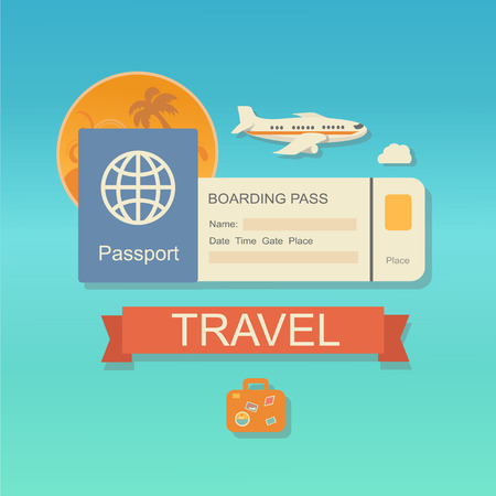 airplane ticket: Vector modern flat design web icon on airline tickets and travel with jet airliner flying, passport, boarding pass ticket Illustration