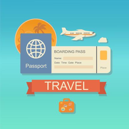 biglietto: Vector moderno web icon design piatto per i biglietti aerei e viaggi con jet airliner battenti, passaporto, imbarco biglietto pass Vettoriali