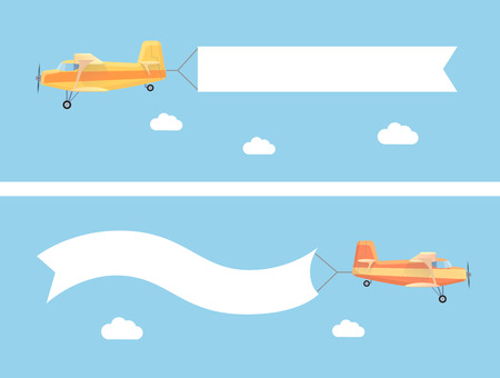 banner background: Flying vintage plane with the advertising banner modern flat concept. Template for a text web banners and printable materials