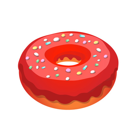 glazed: Glazed ring donut, vector Illustration