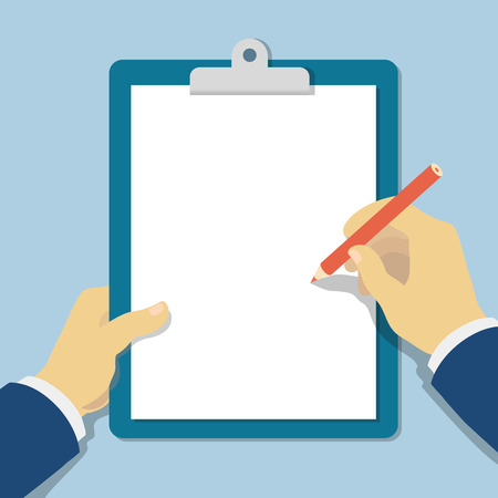 space to write: Vector modern flat illustration  hands holding clipboard with empty sheet of paper and pencil