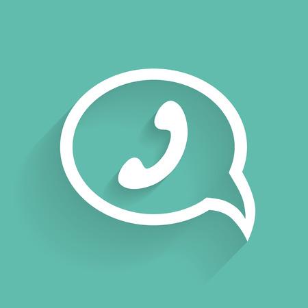 friends talking: phone handset in speech bubble icon