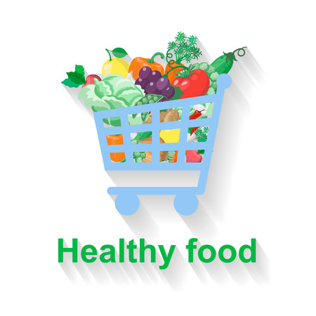 Shopping basket with healthy food. Vector
