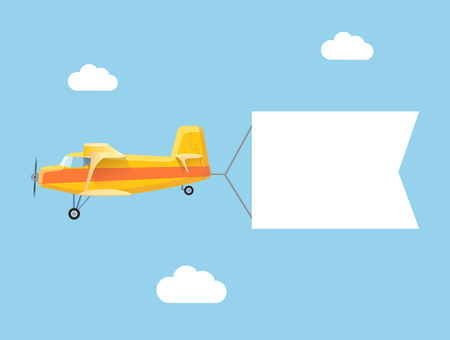 airplane wing: The plane flies with long banners for your text on a background of sky