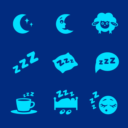 zzz: isolated white sleep concept icons set pillow, bed, moon, sheep and zzz