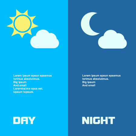 day night: Day and night banners isolated with sun  moon in flat style Illustration
