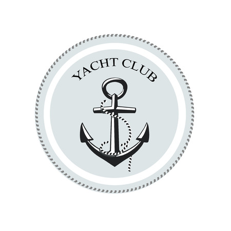 sea mark: Vector yacht club logo,  anchor on a white background.  Graphic Design with Text Area for Name Below