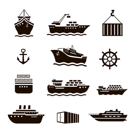 inflate boat: Set of transportation and shipping icons. Container, tanker, cargo.