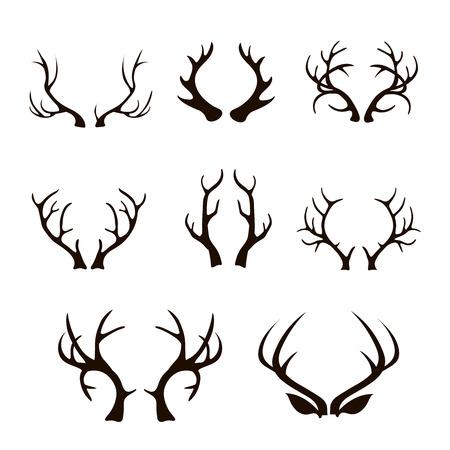 ベクトル鹿アントラーズ シルエットの白で隔離。 異なる角大、分岐、急性のセット