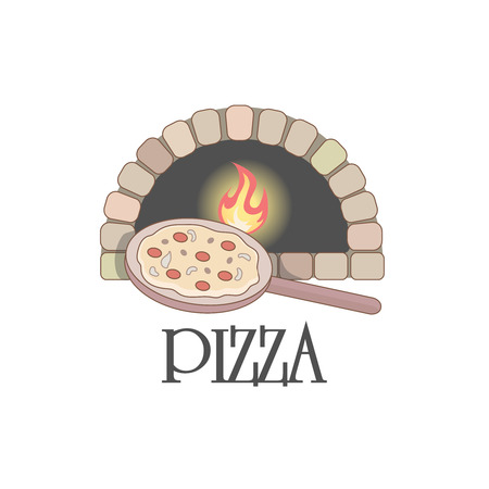 ロゴと薪オーブン、ピザ。  イラスト・ベクター素材