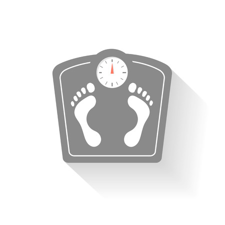 weight control: Bathroom scales icons set. Weight control signs with footprint.