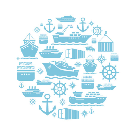 Ship and boat icons background. transportation. shipping. blue  white. Vector