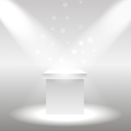 plinth: Single empty pedestal or column under  the rays projectors.  illustration