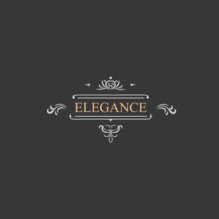 boutique hotel: Etiqueta del vintage retro y el logotipo de lujo, restaurante, hotel, boutique de diseño victoriano heráldico con flourishes elegantes elementos. Plantilla de ilustración.