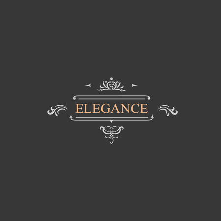 vintage logo: Vintage retro label and luxury logo, restaurant, hotel, boutique  Heraldic victorian Design with flourishes elegant elements.  Illustration template.