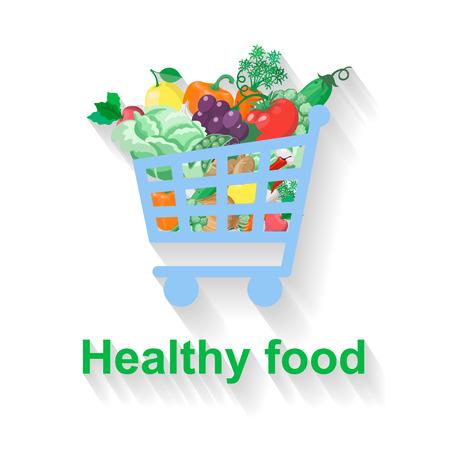 garlic bread: Shopping basket with healthy food  flat illustration