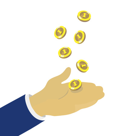 coin toss: Hand throwing up golden coins, vector concept