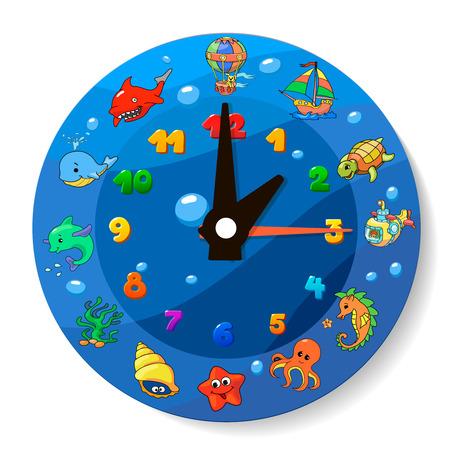 clock cartoon: Funny cartoon clock for kids. Sea Animals Collection
