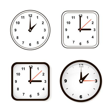 orologio da parete: Set di orologio da parete. Guarda e cerchio Vettoriali