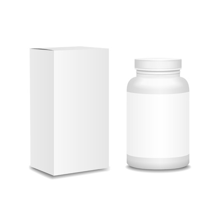 Blank medicine bottle with box realistic isolated on white background vector illustration Illustration