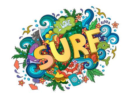 Surf  lettering design, hand-drawn t-shirt typographic surfing print, bright surfboard illustration