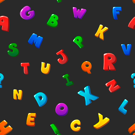 bubble letters: Seamless pattern cartoon kids alphabet bubble letters on black background