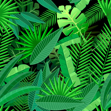 Leaves of tropical palm tree. Seamless pattern on  dark background