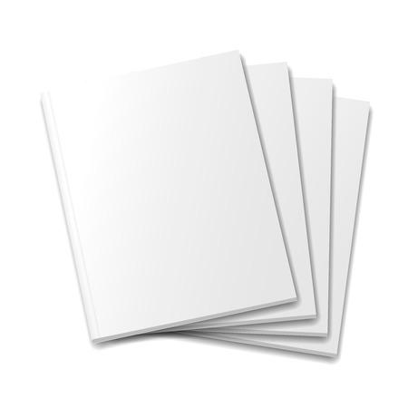 Blank copre template rivista mockup su sfondo bianco illustrazione vettoriale. Vettoriali