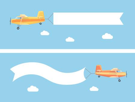 広告バナーの近代的なフラットの概念とヴィンテージ飛行機を飛んでいます。テキスト用テンプレート web バナー、印刷可能な材料 写真素材