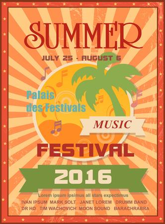 夏音楽祭印刷用ポスター テンプレートまたは web バナー、ヤシの木、太陽、音楽ノート。季節のイベントのお知らせや招待状