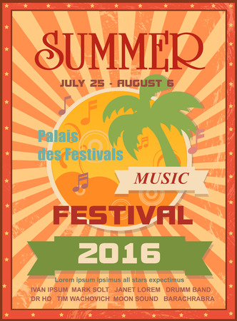 Summer music festival printable poster template or web banner with palms, sun, music notes.For seasonal event announcement or invitation Иллюстрация