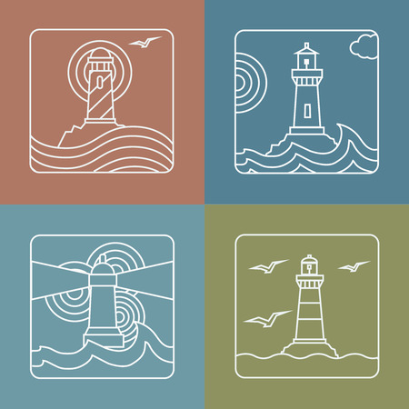 sea beach: Vector lighthouse logo design templates  -  linear style abstract emblems and badges - navigational and travel concepts Illustration